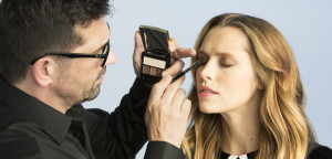 Rick Dicecca applying Artistry eye products to Teresa Palmer's eyes